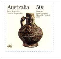 Australische Briefmarke mit einem Frechener Bartmannskrug.