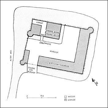 Grundriss der ursprünglichen Anlage der Burg Raeren im 14. Jh.
