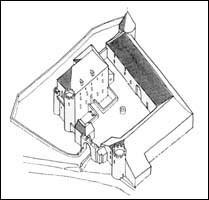 Axonometrische Sicht der heutigen Burganlage