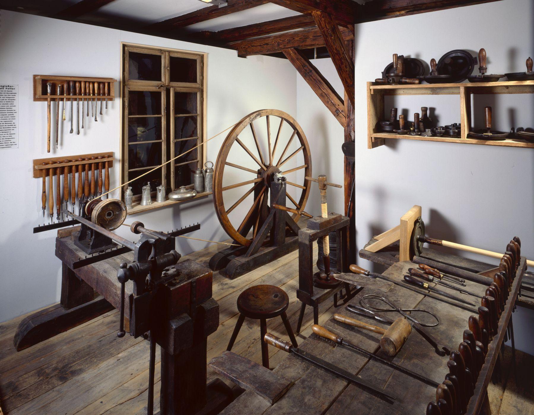 Heimatmuseum Reutlingen, Zinngießerwerkstatt Feller, Fotograf: Andreas Keller