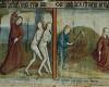 Detail: Vertreibung aus dem Paradies, Adam und Eva bei der Arbeit